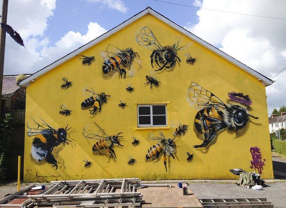 Save the bees graffiti bizarre culture