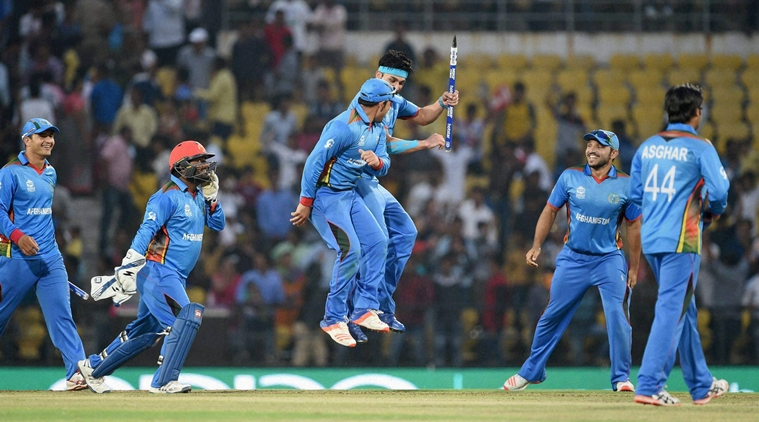 Afghanistan players celebrate their victory against West Indies during the ICC T20 World cup match played in Nagpur on Sunday.