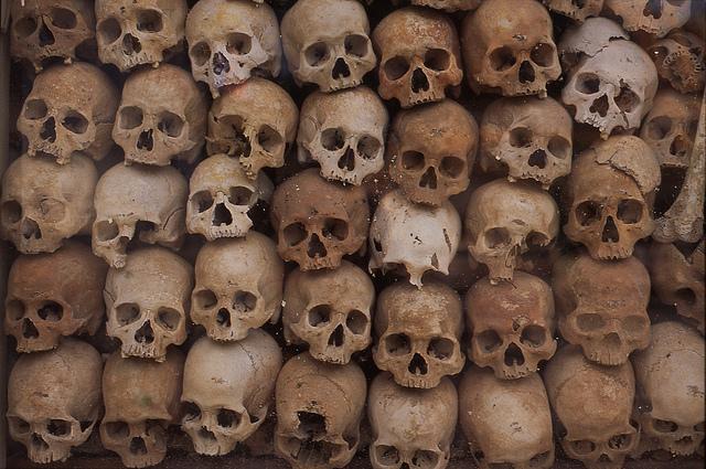 Skulls of those executed at the Killing Fields near Phnom Penh, Cambodia